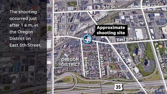 Foto del mapa donde ocurrió el tiroteo en Ohio.