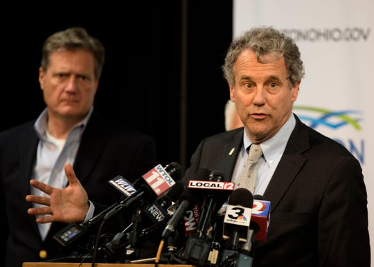 Senator Sherrod Brown speaks during a press conference about a mass shooting that left ten dead, including the shooter, and 26 injured along the 400 block of E. Fifth Street, Sunday, Aug. 4, 2019, in Dayton , Ohio.