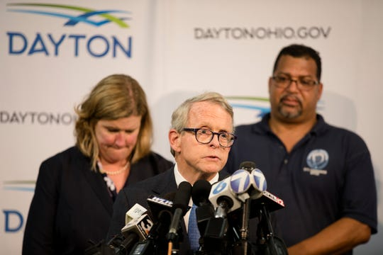 Governor Mike DeWine speaks during a press conference about a mass shooting that left ten dead, including the shooter, and 26 injured along the 400 block of E. Fifth Street, Sunday, Aug. 4, 2019, in Dayton , Ohio.