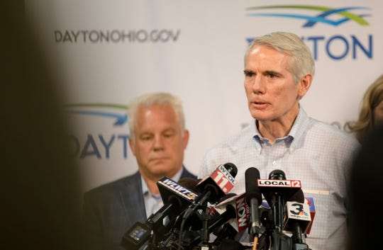 Senator Rob Portman speaks during a press conference about a mass shooting that left ten dead, including the shooter, and 26 injured along the 400 block of E. Fifth Street, Sunday, Aug. 4, 2019, in Dayton , Ohio.