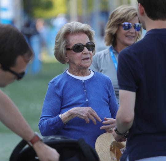 Martha Firestone Ford talks with family members at Detroit Lions during training camp August 4, 2019 in Allen Park.