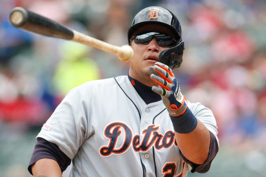 Miguel Cabrera walks against the Rangers in the fourth inning.
