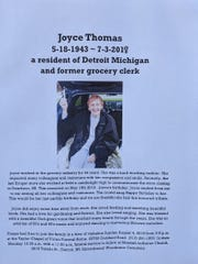 A handout at the Kroger store on south Michigan Avenue in Dearborn on Sunday, Aug. 4, 2019 announcing funeral information for longtime cashier Joyce Thomas.