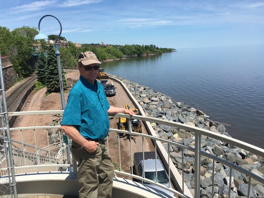 In this June 28, 2019, photo City of Duluth construction project supervisor Mike LeBeau looks over construction of the Lakewalk, which was damaged by three major storms that hit Duluth in less than two years in Duluth, Mich.