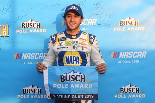 Chase Elliott, driver of the #9 NAPA AUTO PARTS ChevroletChase Elliott, driver of the #9 NAPA AUTO PARTS Chevrolet,poses with the pole award after qualifying for the Monster Energy NASCAR Cup Series Go Bowling at The Glen at Watkins Glen International on August 03, 2019 in Watkins Glen, New York. (Photo by Brian Lawdermilk/Getty Images)