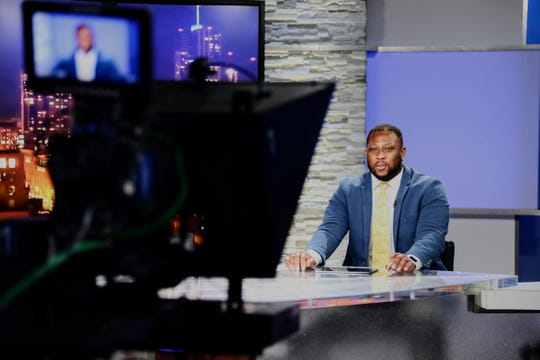 CSU football player Ellison Hubbard on set at 9News in Denver this summer as part of the student-athlete summer career experience program.