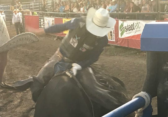 Texas cowboy Boudreaux Campbell, aboard the Sankey Pro Rodeo and Phenom Genetics bull Bad Company, earned 81 points for the best bull riding score of the final round Saturday at the Big Sky PRCA Pro Rodeo at Montana ExpoPark.