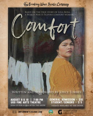 Joyce Torres will depict the life of a comfort woman in her one-woman show, according to an announcement from the University of Guam.