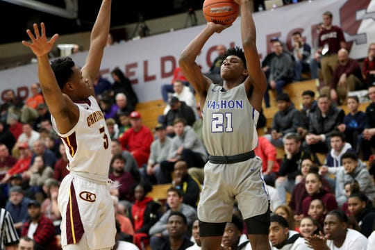 Vashon's Cam'ron Fletcher #21 in action against Christ the King during a high school basketball game at the Hoophall Classic, Saturday, January 19, 2019, in Springfield, MA.