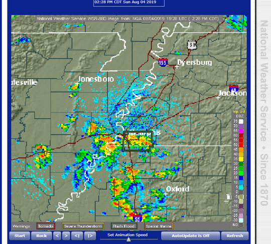 A screenshot of National Weather Service radar showing storms in the Memphis area on Aug. 4, 2019.