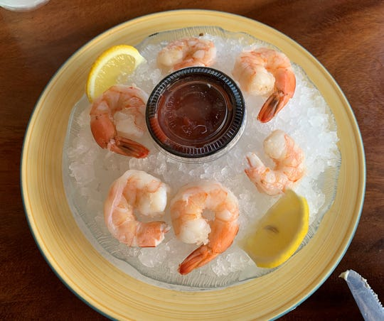 The chilled shrimp cocktail at the Snook Inn, Marco Island.