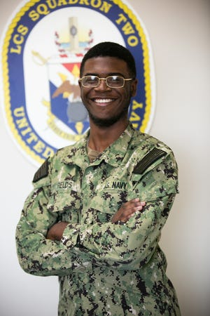 A 2018 Jefferson Davis High School graduate and Montgomery, Alabama, native provides key support as part of combat operations aboard LCS Squadron Two, stationed at Naval Station Mayport, Florida. Seaman Recruit D'Andre Fields serves as a logistics specialist that is responsible for providing supplies.