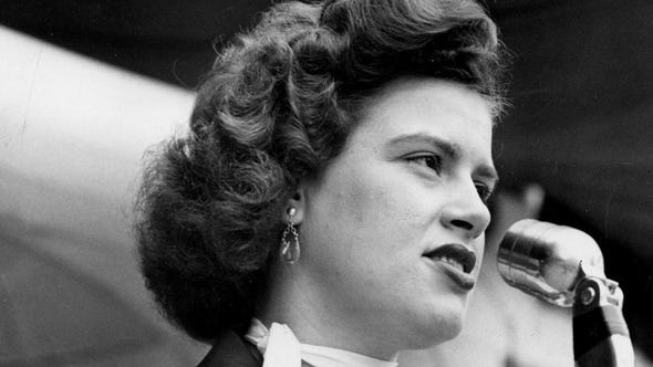 """Patsy Cline performs before a packed crowd during The Nashville Tennessean Centennial Park concert Jun 26, 1955. One of her biggest hits is """"Crazy."""""""