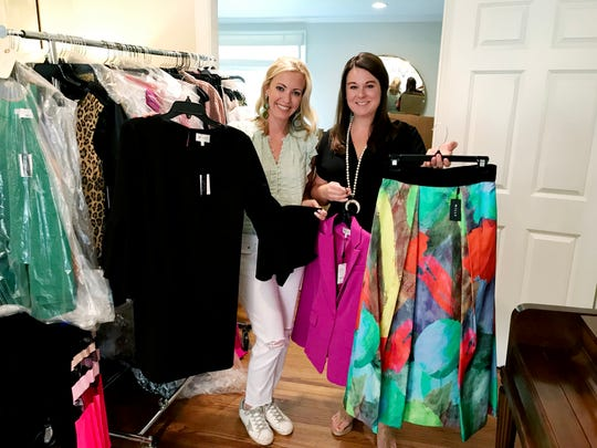 Warehouse Collective organizers Allison Taylor, left, and Kathleen Hoefflin plan to have more than 4,000 pieces of upscale and designer inventory at next week's popup sale.