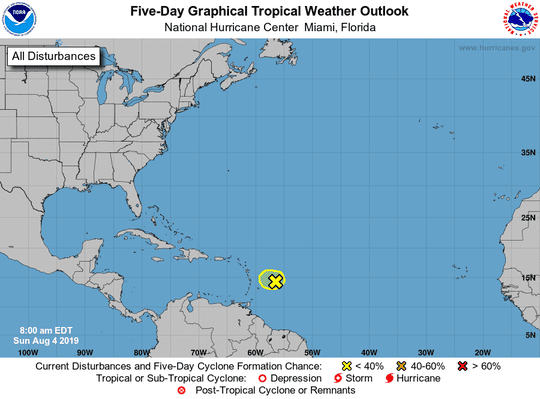 Tropical conditions on Aug. 4, 2019