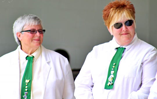 Longtime Licking County 4-H band director Jane Copenhefer (left) and her assistant, Dannette Morehouse (right) are retiring from the band.