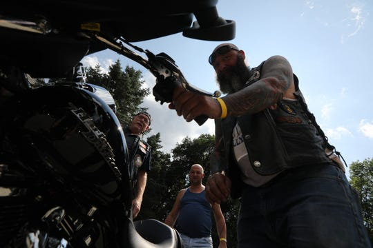 Motorcyclists came to the Oakland Elks Lodge for a motorcycle run Sunday, to raise money for Chris Porraro (not shown), a veteran with mounting medical bills, most recently for leukemia treatment. Sunday, August 4, 2019