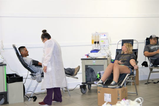Las Cruces residents donate blood for the victims in the El Paso shooting Saturday, Aug. 3, at the Mesilla Valley Mall.