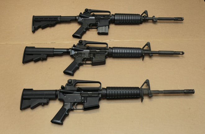 AP file Three variations of the AR-15 assault rifle are displayed at the California Department of Justice in Sacramento.