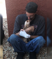 Bubba, safe and sound after Phoenix firefighters restored his breath.