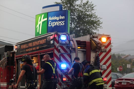 Fishkill Fire Department puts out a fire at the Holiday Inn Express on Saturday evening.