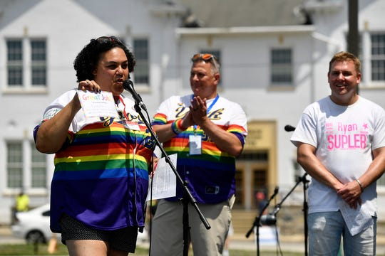 Carla Christopher announces Ralph Serpe as the first Stonewall Legacy Award honoree during Equality Fest 2019 at Penn Park, Sunday, August 4, 2019. John A. Pavoncello photo