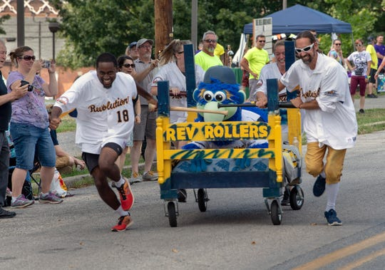 The York Revolution Rollers race their bed during the Bells Big Bed Race that ran alongside Equality Fest 2019; What We Learned at Stonewall on Sunday at Penn Park in York.