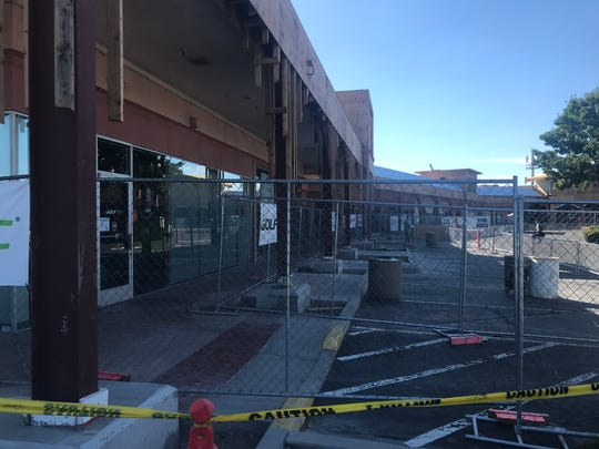 Facade work continues at The Pavilions shopping center on South Virginia Street.