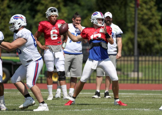 Bills quarterback Josh Allen looks downfield during a two-minute drill.