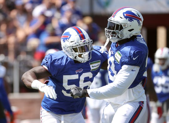 Bills Mike Love (56) working with the special tams unit during practice.