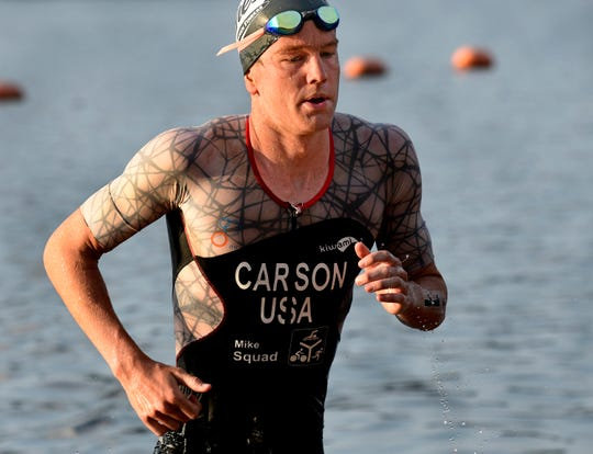 After finishing as the runner-up last year, Matt Carson of Southlake, Texas, took home the 39th Annual Sportspectrum River Cities Triathlon on Sunday.