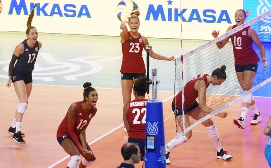 USA women's volleyball's team celebrates during their game against Argentina Sunday, August 4, 2019, at the CenturyLink Center in Bossier City in the third of three matches trying to qualify for the Tokyo Olympic Games.