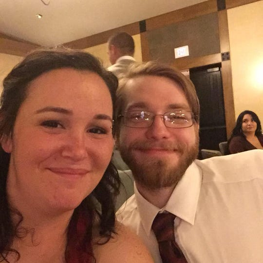 Josh Wilkerson and fiancee Rose Walters are pictured at a friend's wedding in November 2018. Wilkerson, 27, died in June from diabetes-related complications after switching to a less expensive form of insulin.