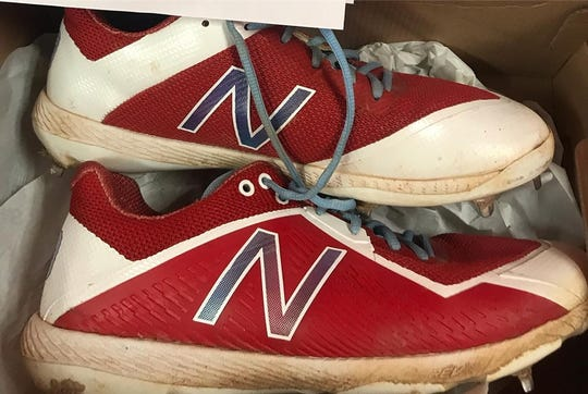 A photo of the cleats Tony Thomas wore when he became the first player to steal first base in a game last month.