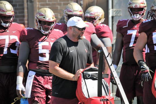 Offensive line coach Randy Clements at FSU football practice on Aug. 4, 2019.