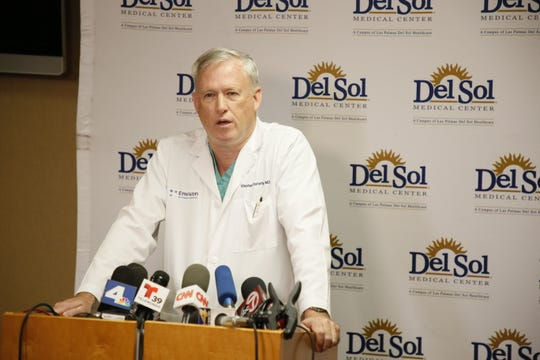 Stephen Flaherty, medical director of trauma for Del Sol Medical Center, briefs the news media on 11 patients the hospital received from the Walmart shooting in El Paso.