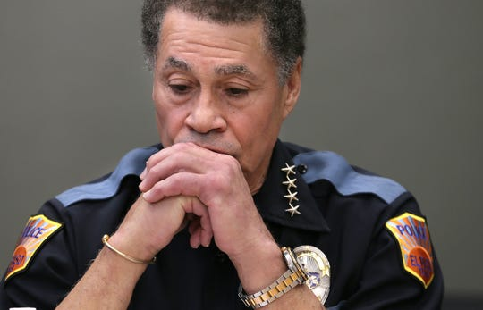 El Paso Police Chief Greg Allen appears exhausted during a press conference Sunday morning at the Office of Emergency Management following a mass killing that killed 22.