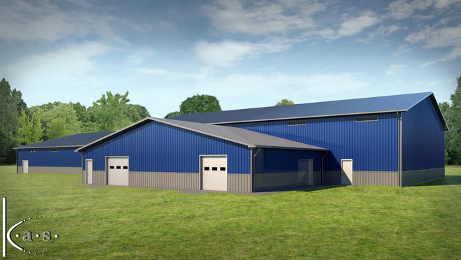 An artist rendering portrays the new $500,000 Morgan athletic facility currently being constructed at the high school. The features of the 80x200 foot building will include an auxiliary gymnasium, hitting facilities and a wrestling room.