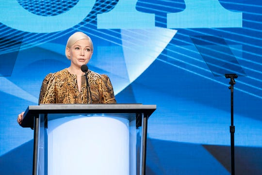 """Michelle Williams accepts a TCA Award for her role in """"Fosse/Verdon"""" on Aug. 3,  2019, in Beverly Hills, California."""