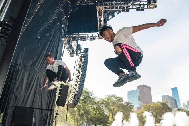 Joe De Pace, right, and Andrew Fedyk of Loud Luxury perform on day three of Lollapalooza in Grant Park on Saturday, Aug. 3, 2019, in Chicago.