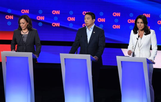 CNN's Democratic debate on July 31, 2019. Pictured here from left to right are Sen. Kamala Harris (CA), Andrew Yang and Rep. Tulsi Gabbard (HI).