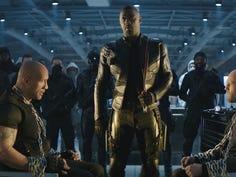 "Luke Hobbs (Dwayne Johnson), Brixton Lorr (Idris Elba) and Deckard Shaw (Jason Statham) in ""Fast & Furious Presents: Hobbs & Shaw."""