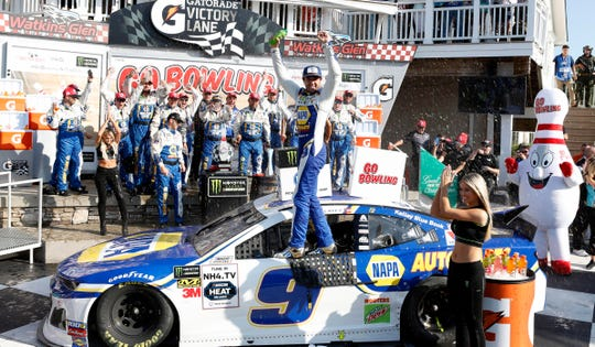 Chase Elliott celebrates after winning the Go Bowling at The Glen for the second consecutive year.