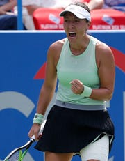 Jessica Pegula reacts during the Citi Open.