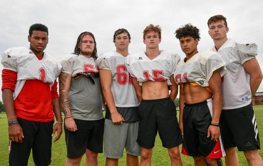 Liberty High School seniors, from left; J.T. Smith, Brad Moore, Duncan Owen, Carter Smith, Carter Hair, and Luke Terry.