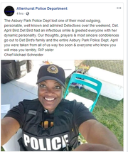 Screen shot of a Facebook post from the Allenhurst Police Department announcing the death of Asbury Park police officer April Bird.