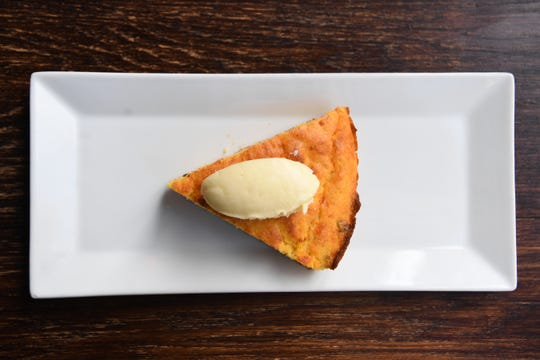 Jalapeno cheddar corn bread is a small bite available at The Blackbird in downtown Asheville.