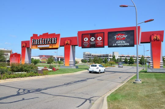 The entrance to FireKeepers Casino Hotel.