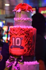 A cake celebrating the 10-year anniversary of FireKeepers Casino was provided for guests on Monday, August 5, 2019.
