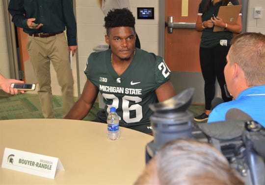 Battle Creek's Brandon Bouyer-Randle talks about the Michigan State defense during football media day in East Lansing on Monday.